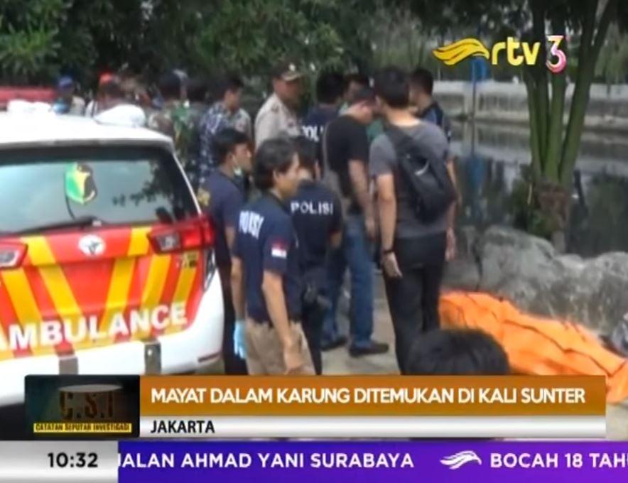 PENEMUAN MAYAT DALAM KARUNG DI KALI SUNTER JAKARTA UTARA [ CSI RTV 24 APRIL 2017 ]